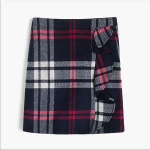 JCrew Ruffle Plaid Mini Skirt in Double Serge Wool